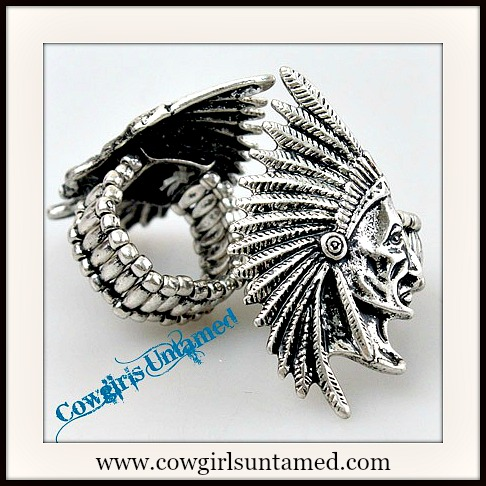 AMERICAN COWGIRL RING Silver Indian Chief Silhouette Stretchy Western Ring