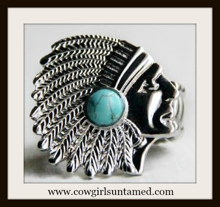 AMERICAN COWGIRL RING Silver Indian Chief with Turquoise Stone Stretchy Western Ring