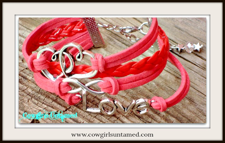 "COWGIRL ATTITUDE BRACELET Silver ""LOVE"" Infinity & DOUBLE HEART Multi Strand Leather Bracelet"