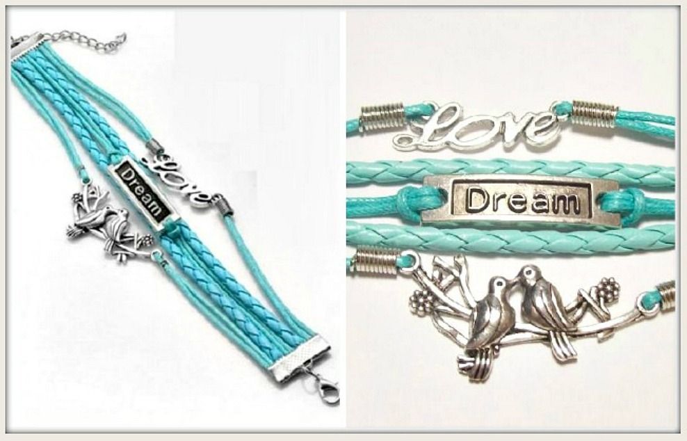 "COUNTRY COWGIRL BRACELET Silver Lovebirds ""DREAM"" ""LOVE"" Charms Turquoise Bracelet"