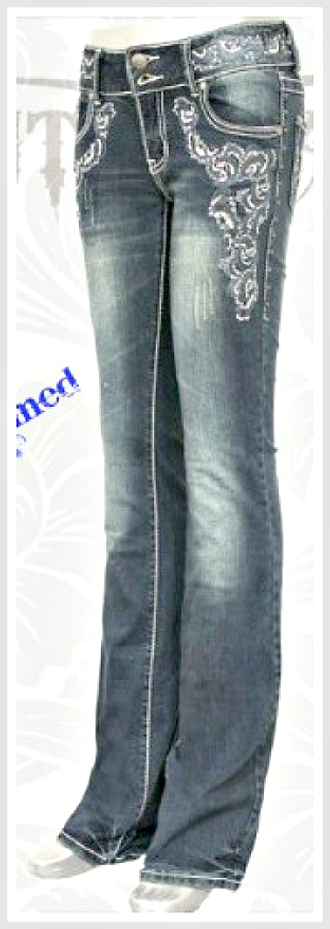 MONTANA WEST JEANS Sequin Embroidery Silver N Rhinestone Studded Boot Cut Western Jeans SIZE 0 only