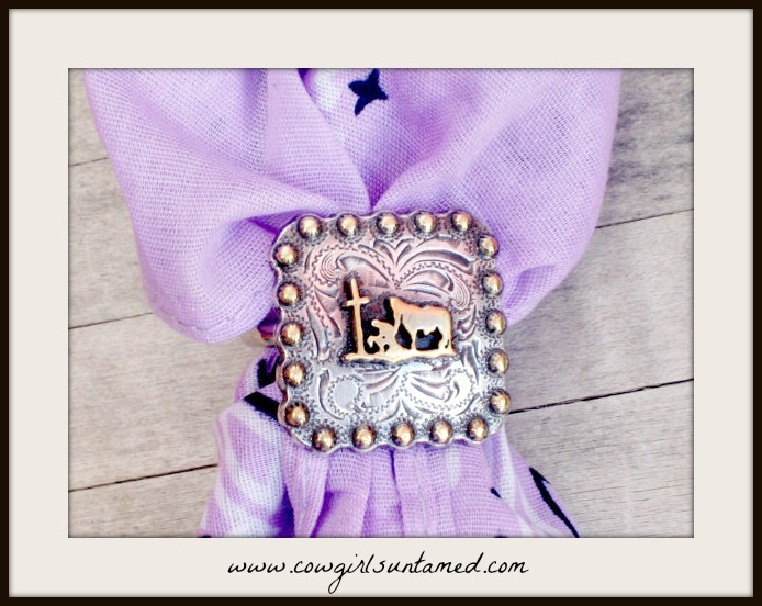 COWGIRL STYLE SCARF SLIDE Silver Praying Cowboy Cross Square Concho Scarf Slide with FREE BANDANNA