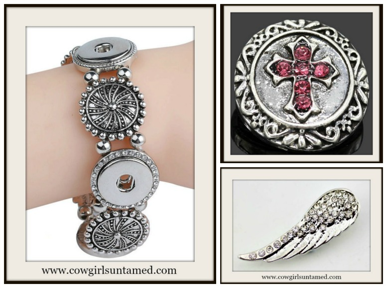 Pink Crystal Cross And Silver Crystal Angel Wing Snap
