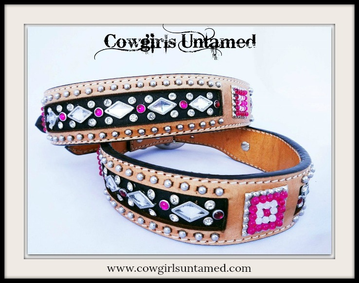 COWGIRL PET STYLE Silver Studded Crystal & Rhinestone Tan Black GENUINE Leather Dog Collar