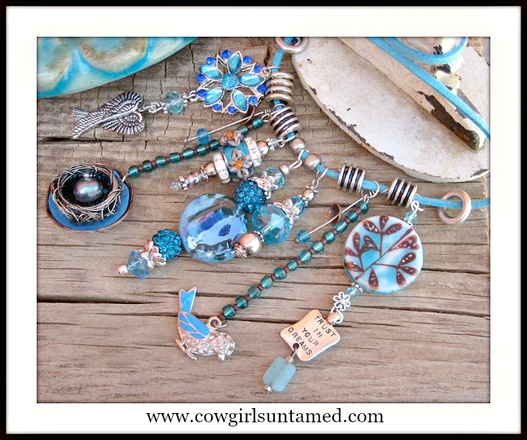 "COWGIRL JUNK GYPSY NECKLACE Silver ""Trust Your Dreams...Be Free""   Blue Crystal N' Charm Teal N Turquoise Gemstone Leather Necklace"