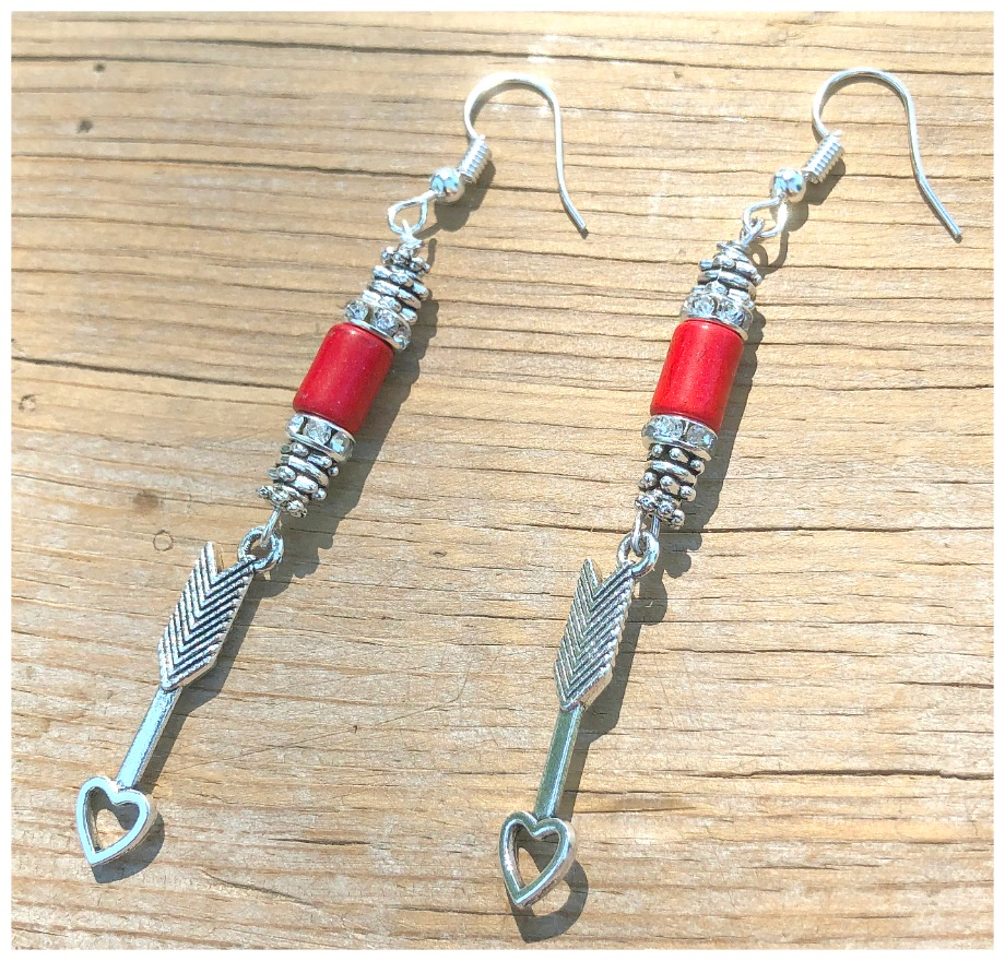 ARROW THRU THE HEART EARRINGS Silver Arrow Heart Charm Silver Rhinestone Red Turquoise Long Earrings