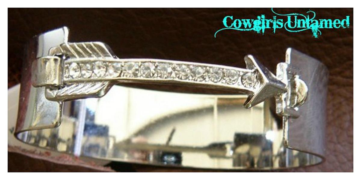 COWGIRL STYLE CUFF Rhinestone Arrow Silver Cuff Bracelet