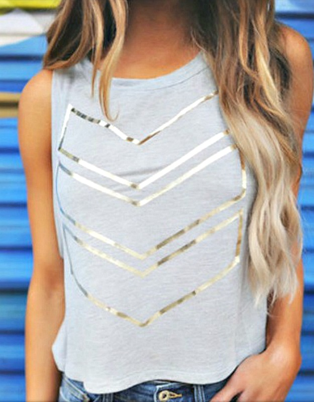 SHE'S A DOLL TOP Silver Metallic Chevron Sleeveless Grey Cropped Tank Top
