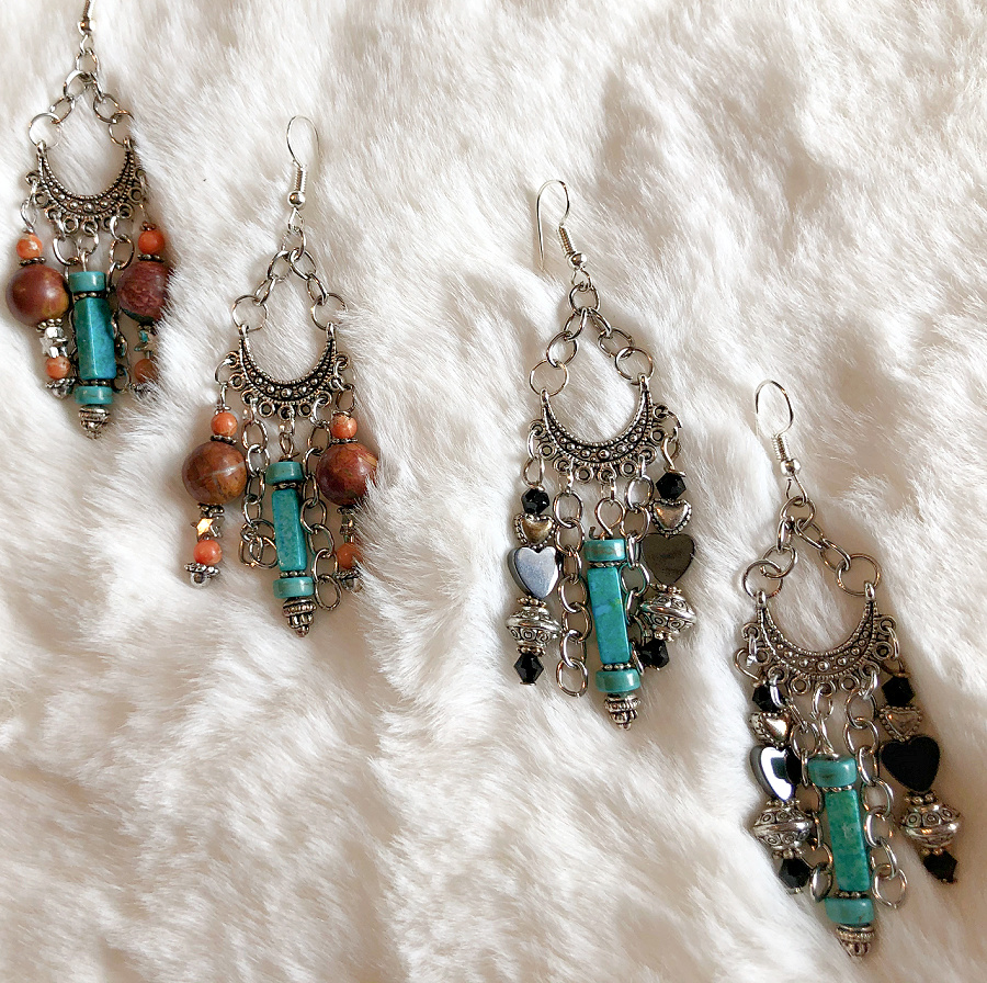 BOHEMIAN COWGIRL EARRINGS Turquoise Silver Star Heart Gemstone Handmade Chandelier Earrings