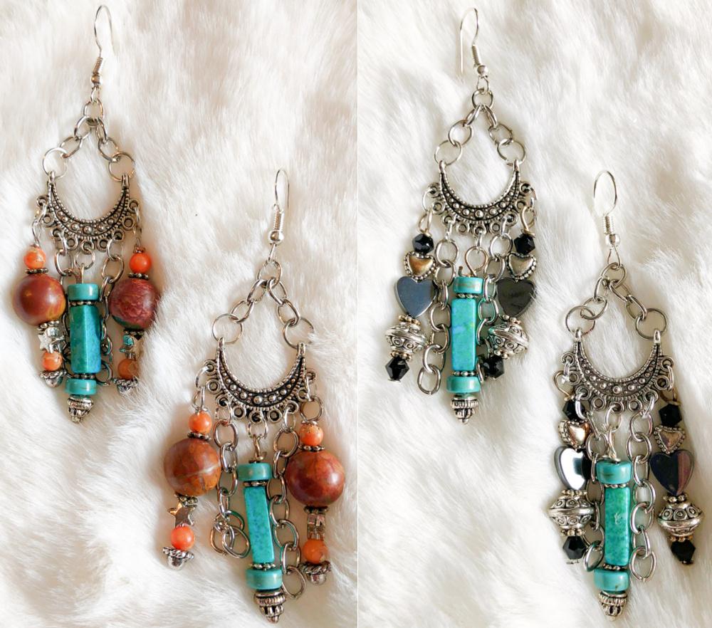 BOHEMIAN COWGIRL EARRINGS Turquoise Silver Star Heart Gemstone Handmade Chandelier Earrings 2 STYLES