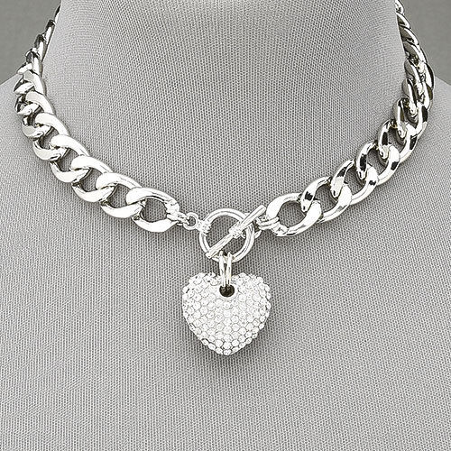 LOVE IS IN THE AIR NECKLACE Rhinestone Heart on Rhodium Silver Chain Choker Necklace