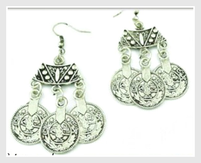 COWGIRL GYPSY EARRINGS Boho Silver Coin Chandelier Earrings