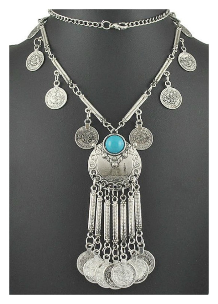 COWGIRL GYPSY NECKLACE Antique Silver Coin & Turquoise Tassel Long Festival Boho Necklace