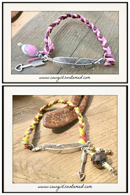 BOHEMIAN COWGIRL BRACELET Silver Feather Braided Leather Charm Bracelet  2 COLORS!