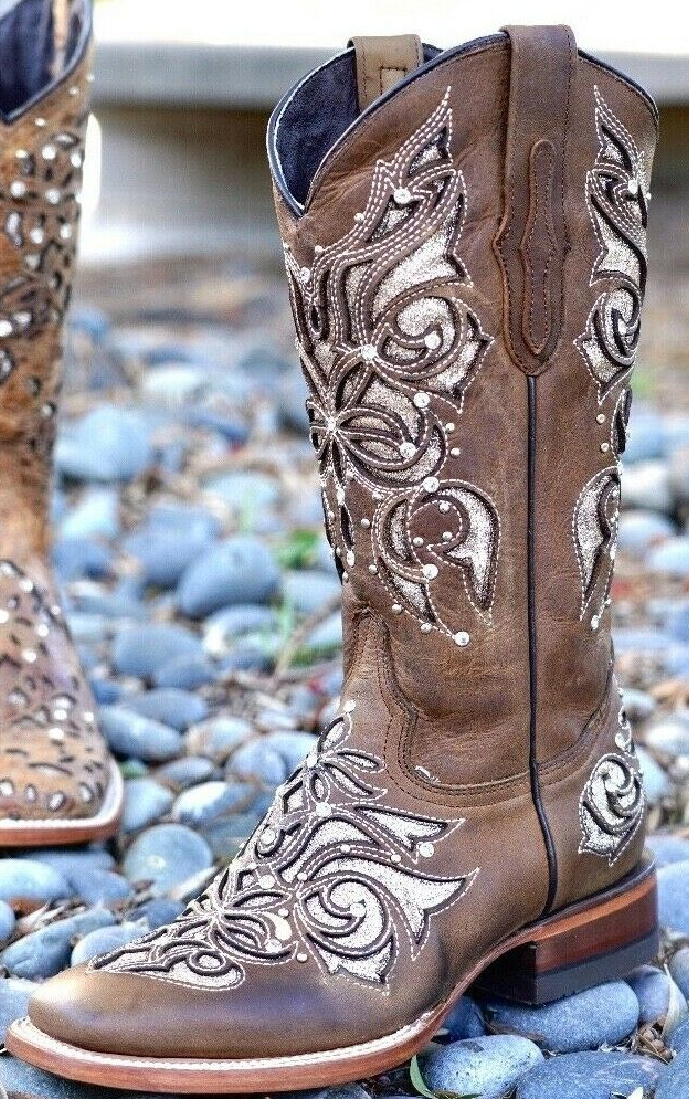 GLIITER & CRYSTALS BOOTS Silver Glitter Underlay Crystal Studded Brown Leather Square Toe Womens Cowgirl Boots 6-10