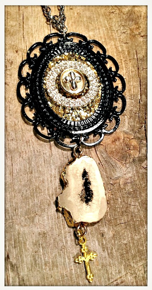 VINTAGE COWGIRL NECKLACE Antique Gold and Silver Cross Black Cameo Druzy Gemstone & Cross Charm Necklace
