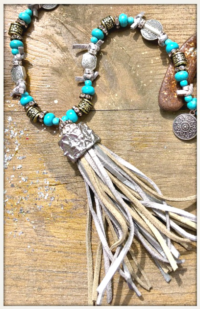 BOHEMIAN COWGIRL NECKLACE Silver & Bronze Leather Tassel Pendant Turquoise Rhinestone Beaded Necklace