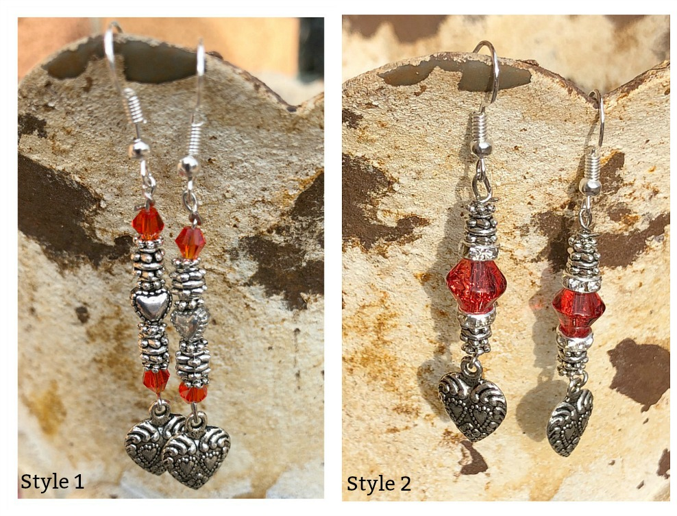 TRUE LOVE EARRINGS Custom Red & Silver Long Heart Charm Earrings