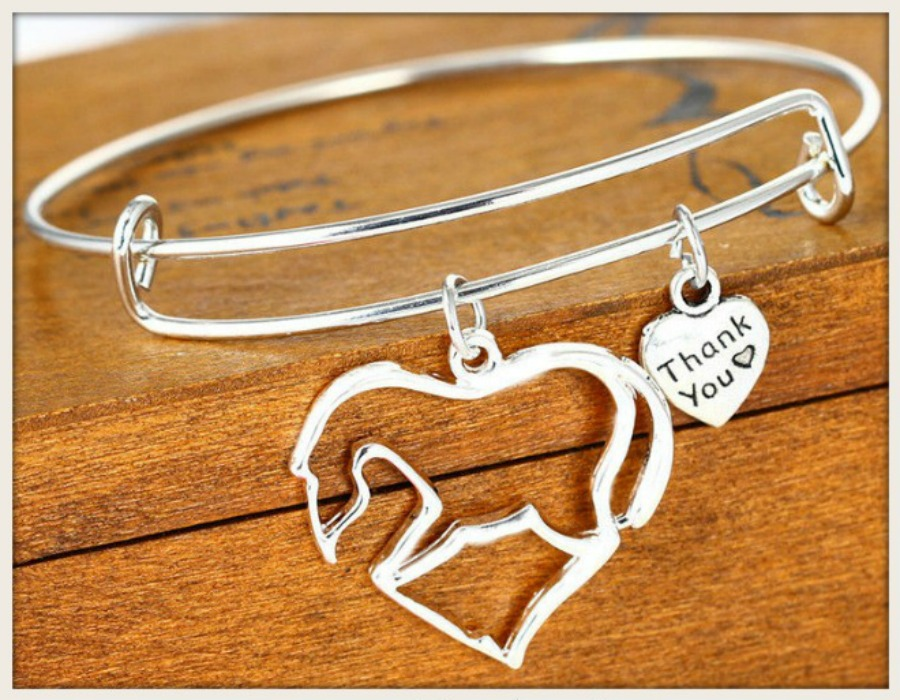 COWGIRL STYLE BRACELET Silver Horse & Charm Bangle