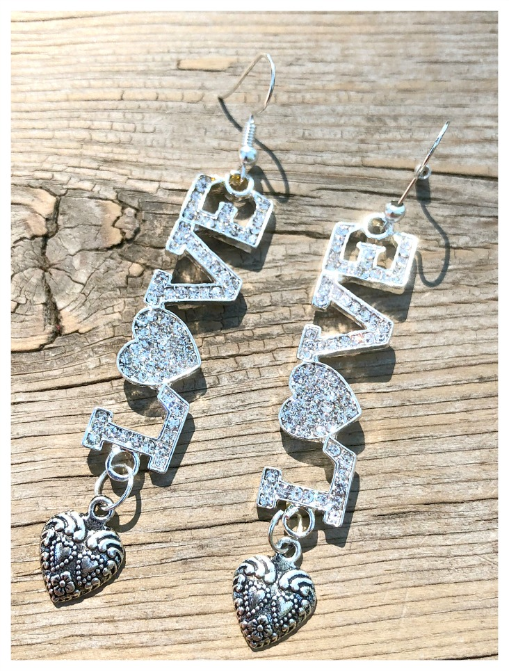 "LOVE EARRINGS Custom Silver Rhinestone ""LOVE"" with Heart Charm Long Earrings"