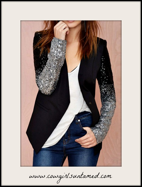 MAGNOLIAS BLOOM JACKET Black to Silver Ombre Sequin Long Sleeve Lined Black Blazer