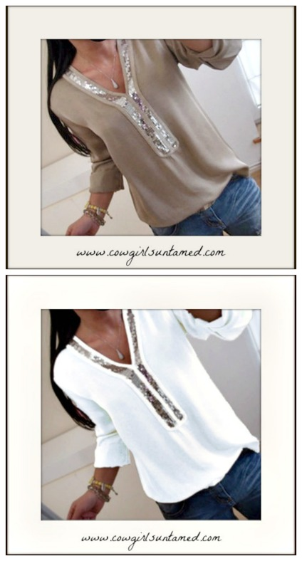 COWGIRL GLAM TOP Silver Sequin V Neck Long Sleeve Beige Blouse  Misses & PLUS!