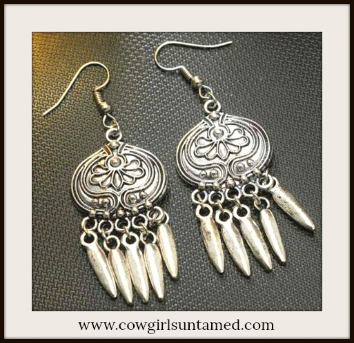 COWGIRL GYPSY EARRINGS Antique Silver Spike Charm Long Earrings