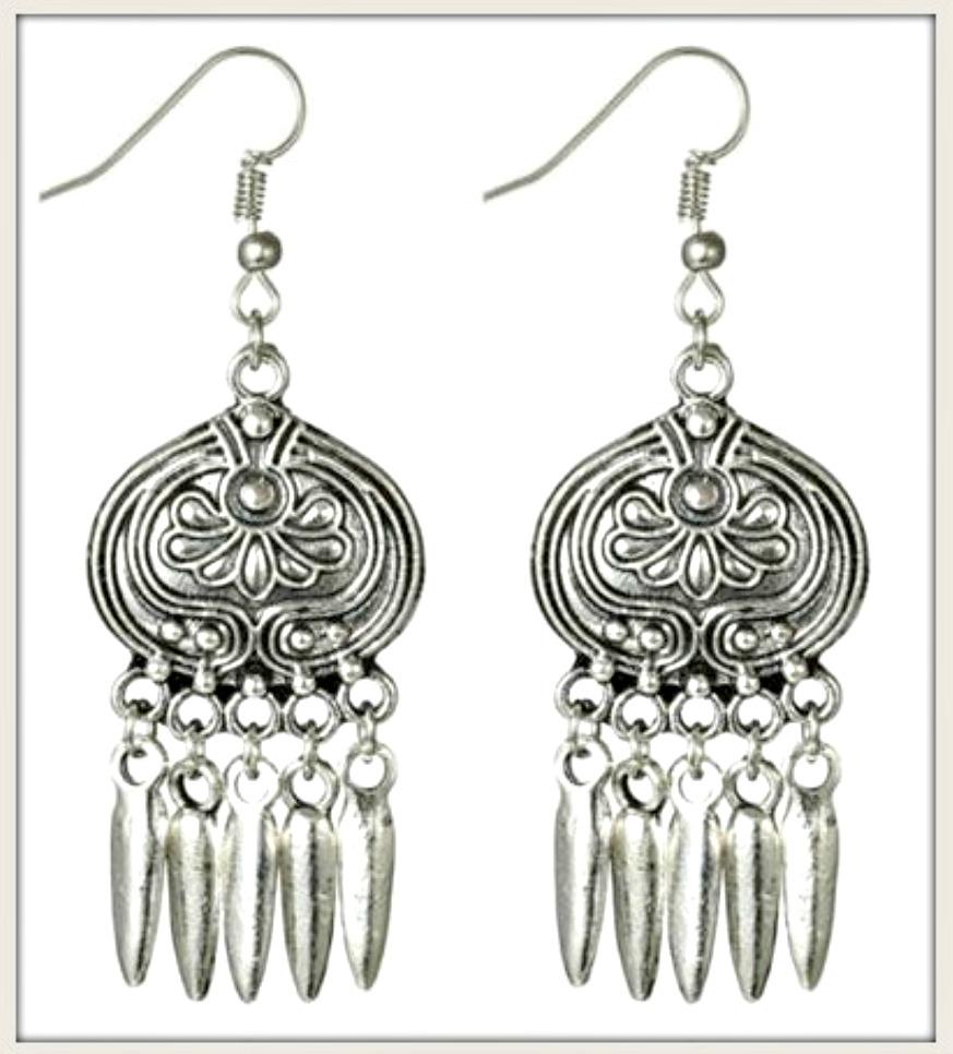 BOHO CHIC EARRINGS Antique Silver Spike Charm Long Earrings