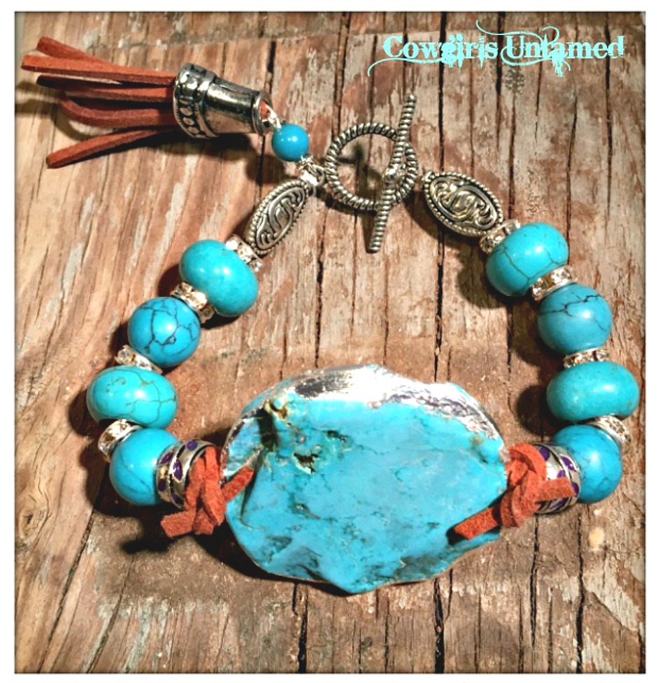GYPSY SOUL BRACELET Silver Trim Large Turquoise Pendant Leather Turquoise Antique Silver Bracelet