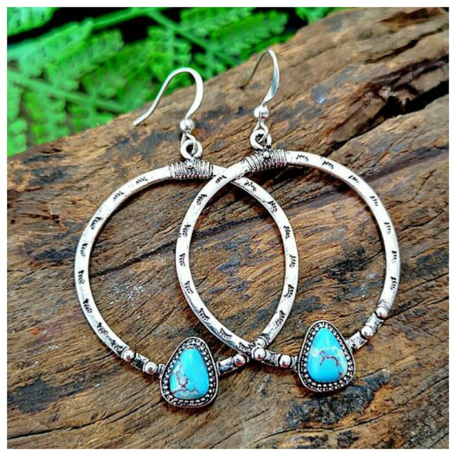IN THE HOOP EARRINGS Antique Etched Silver Hoop with Turquoise 925 SS Earrings
