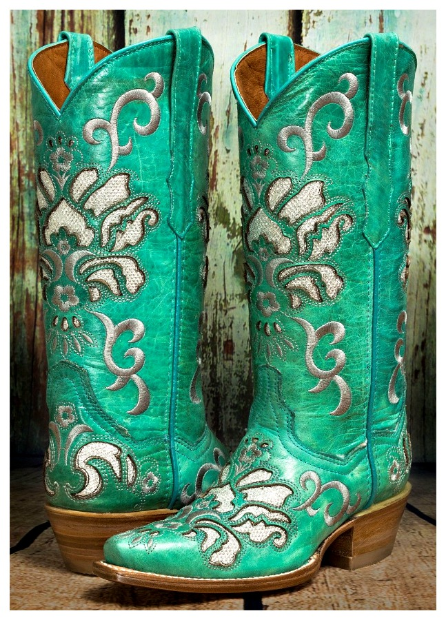 COWGIRL STYLE BOOTS Silver Embroidery & Underlay Distressed GENUINE Turquoise LEATHER Boots