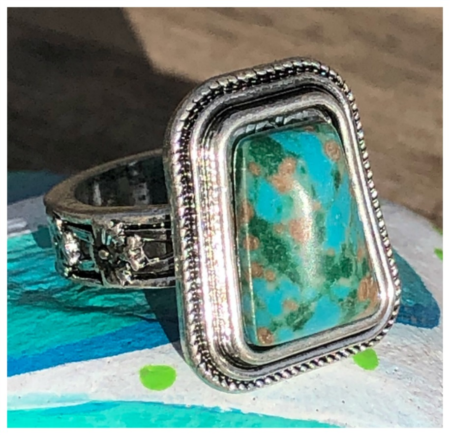 BOHEMIAN COWGIRL RING 925 Sterling Silver Floral Band Turquoise Ring Size 7 or 8