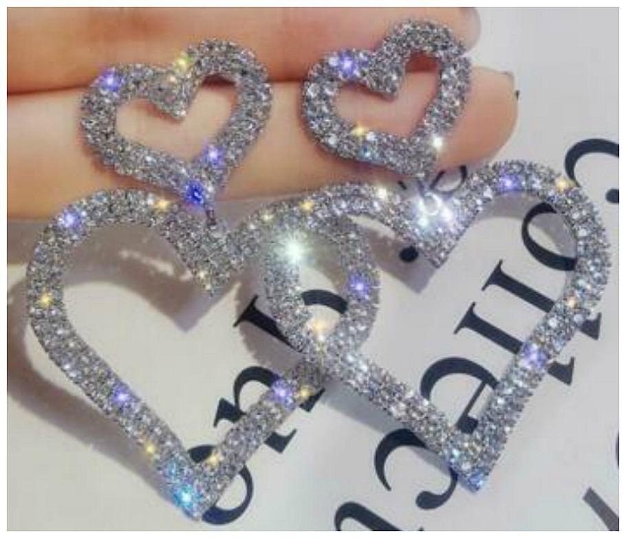 LOVE IS IN THE AIR EARRINGS 925SS Rhinestone Large Double Heart Silver Dangle Earrings