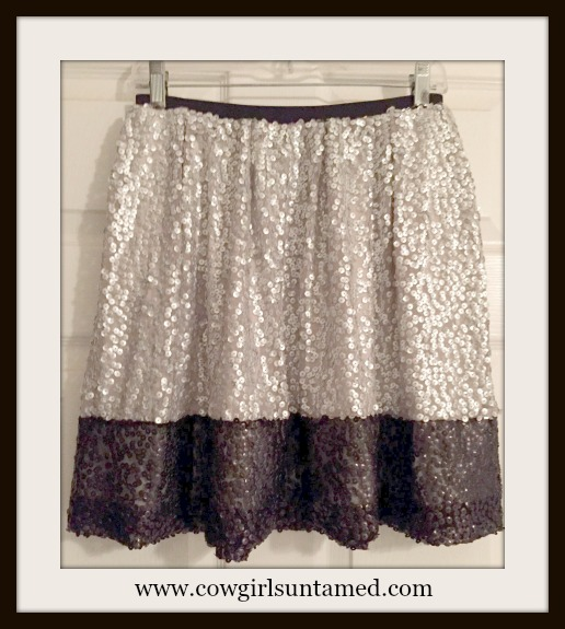 COWGIRL GLAM SKIRT Silver and Black Sequin Full Designer Mini Skirt