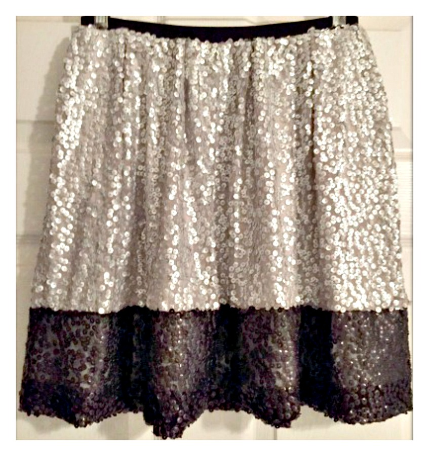 TOUCH OF GLAM SKIRT Silver and Black Sequin Full Designer Mini Skirt