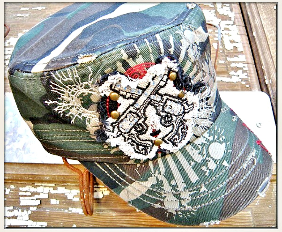 CAMO COWGIRL CAP Rough Edge Crystal Sixshooter Pistol Patch on Green Camo Cadet Western Cap