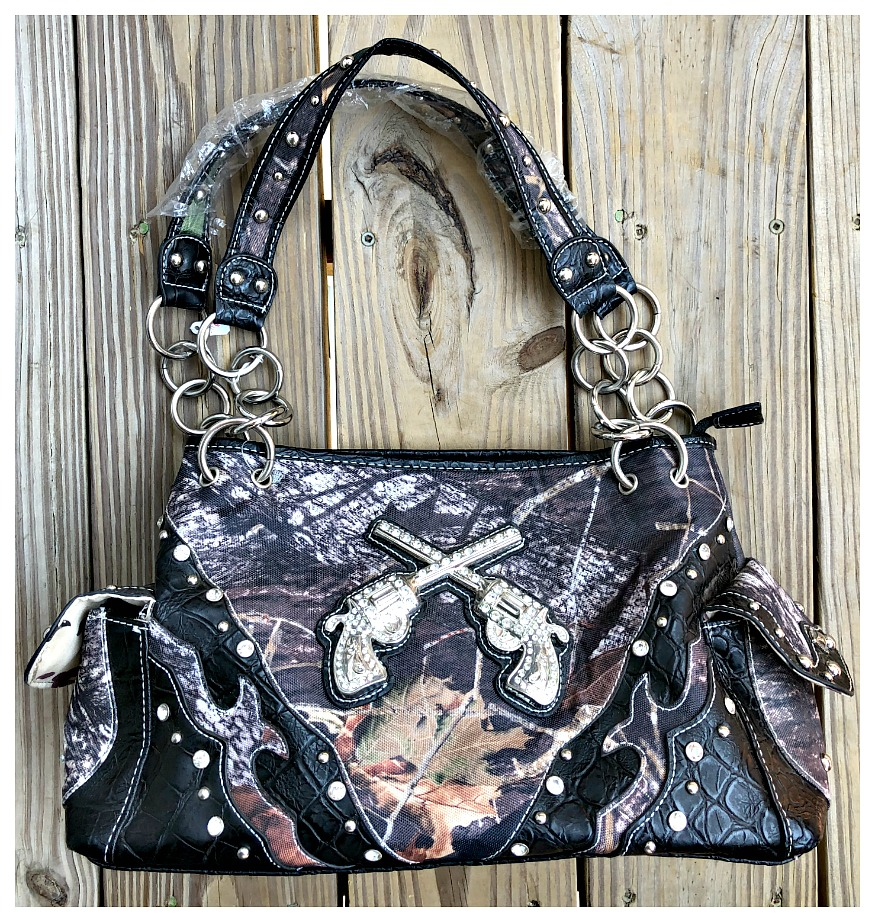COWGIRL OUTLAW HANDBAG Silver Rhinestone Sixshooter & Studded Brown Camo Canvas and Black Croc Leather Handbag