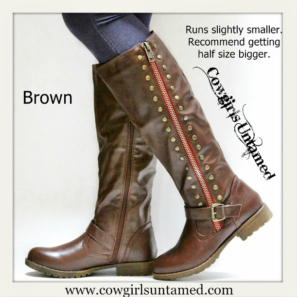 COWGIRL STYLE BOOTS Brown Side Zipper Faux Leather Riding Boots SIZE 6.5/7 -LAST ONE - SALE