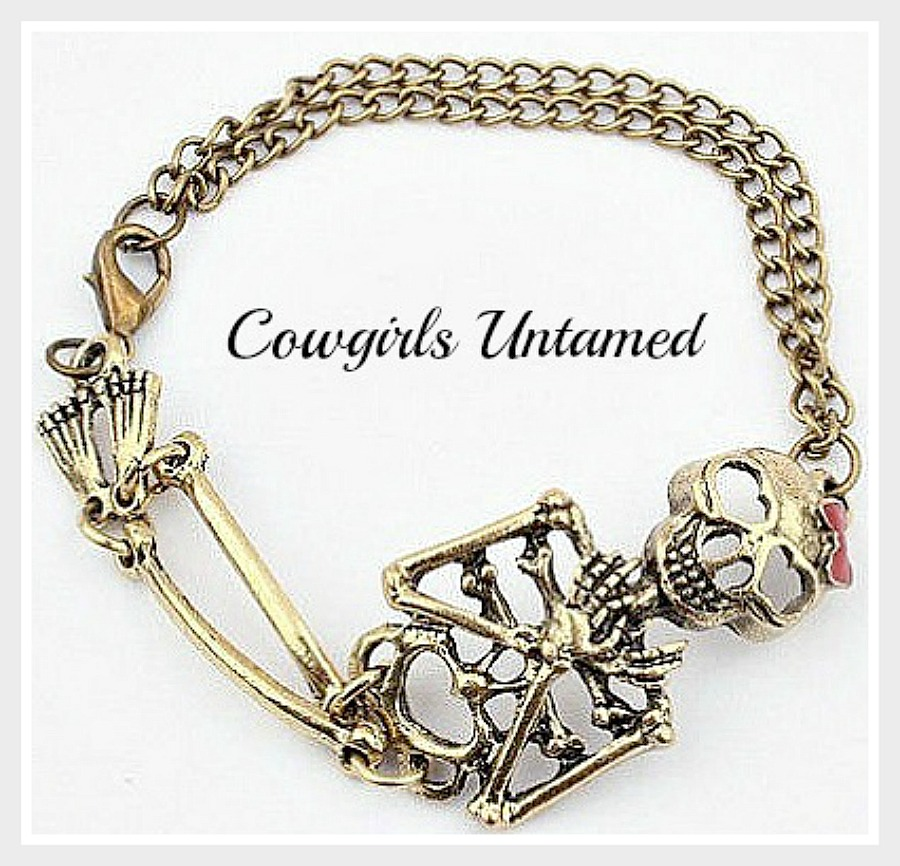 COWGIRLS ROCK BRACELET Vintage Clasp Chained Cute Skeleton Bow Bracelet LAST ONE