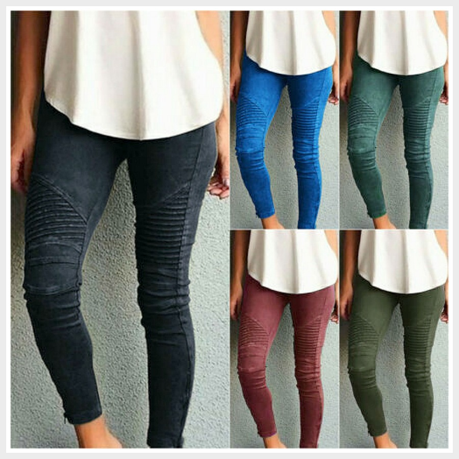 COWGIRLS ROCK JEANS Pleated Dyed Skinny Jegging Jeans  4 Colors