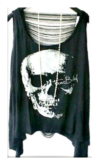 SKULL TANK TOP Skull Strappy Back Black Tank Top