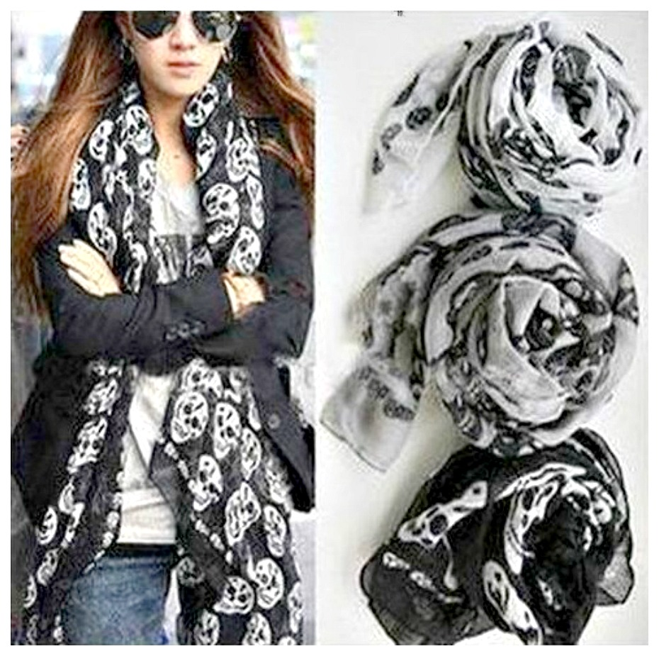 ROCK n ROLL SCARF Chiffon Multi-Skull Long Scarf