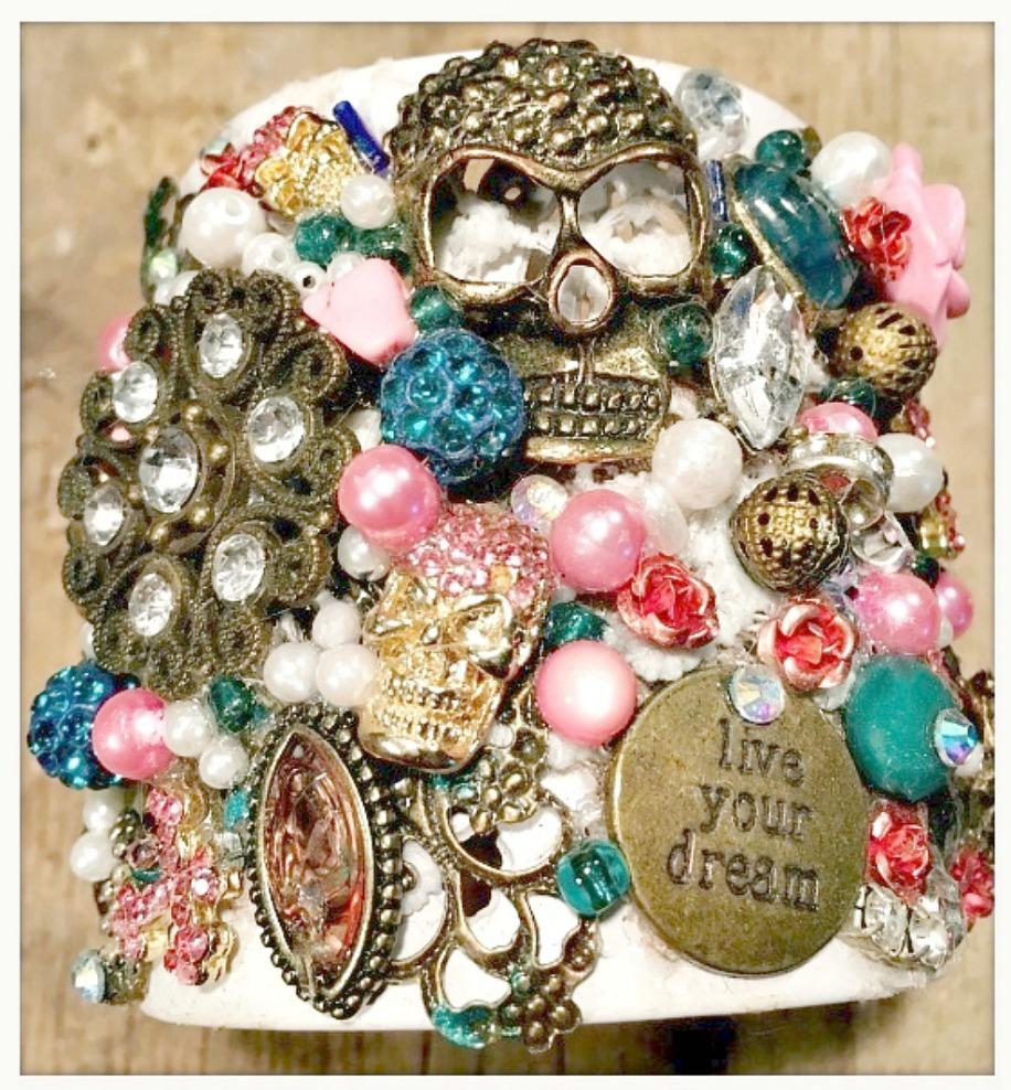 "COWGIRLS ROCK CUFF ""Live Your Dream"" Antique Bronze & Gold Fleur De Lis Skull Cross Heart Collage Large White Metal Cuff"