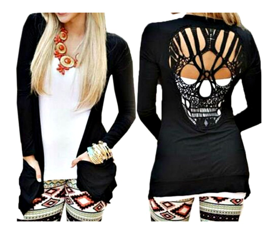 ROCK N ROLL CARDIGAN Skull Crochet Open Back Black Cardigan