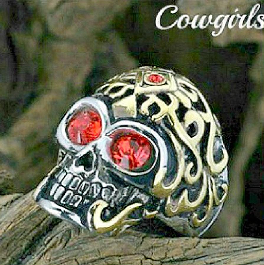 COWGIRL GYPSY RING Red Rhinestone Titanium Skull Gold Tone Ring