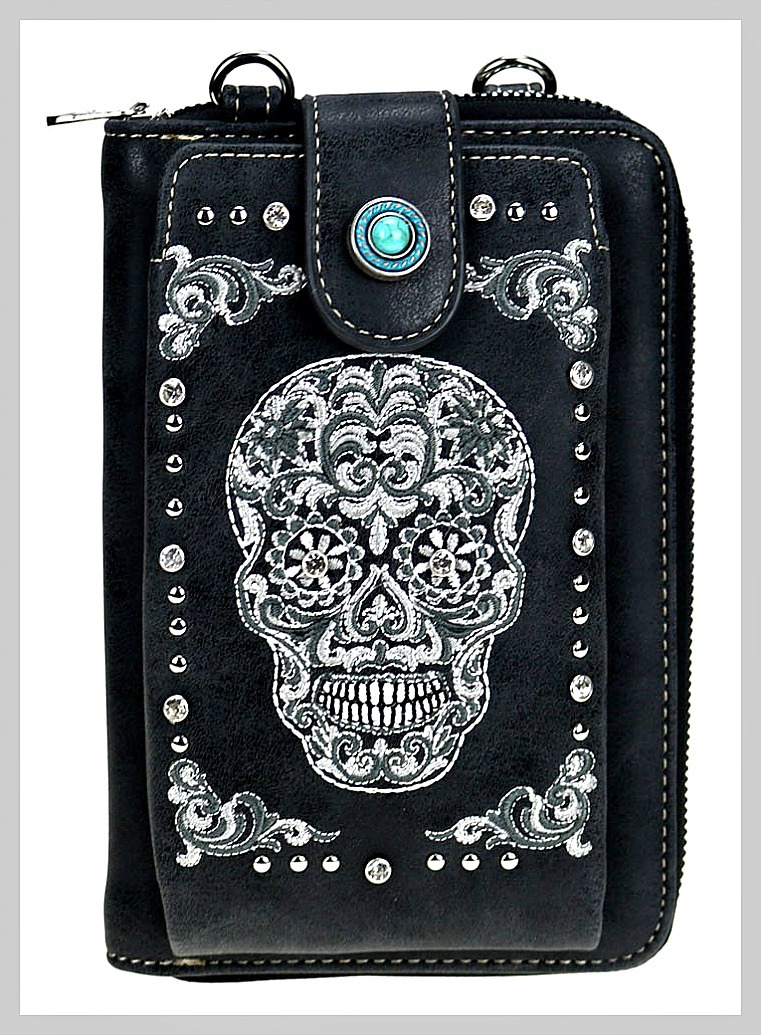 MONTANA WEST SUGAR SKULL SMART PHONE WALLET White & Grey Embroidered Sugar Skull Crystal Studded Black Smart Phone Wallet Crossbody