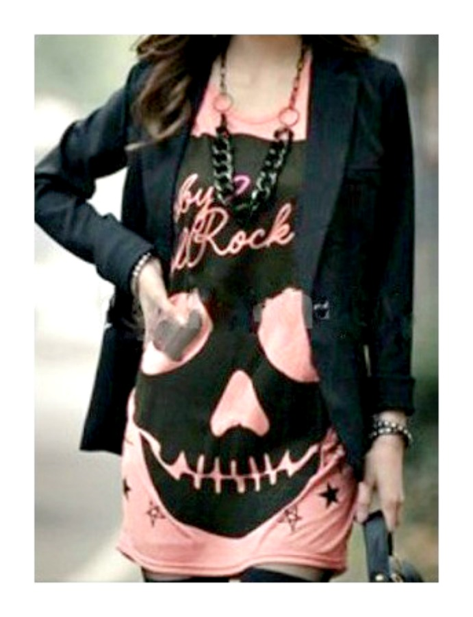COWGIRL GYPSY TEE Cap Sleeve Skull with Stars N Hearts Tunic Top  2 COLORS!