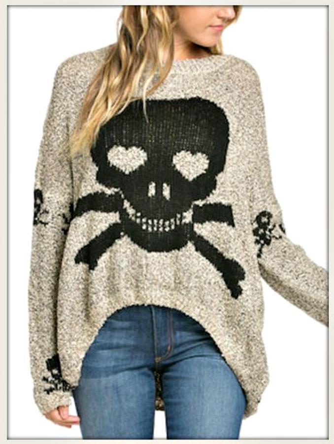 COWGIRL GYPSY SWEATER Black Skull N' Crossbones on Beige Long Sleeve Sweater
