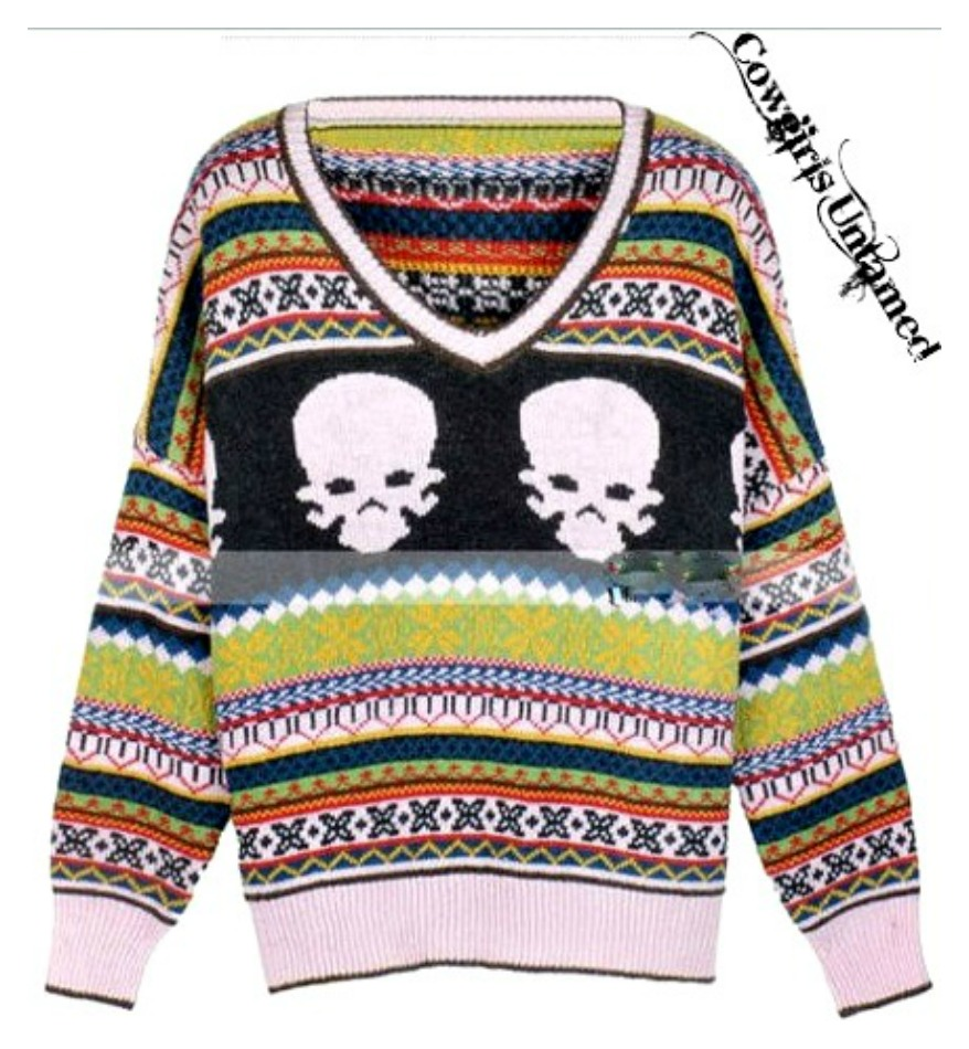 COWGIRL GYPSY SWEATER Multi Color Striped with Skull Beige V Neck Sweater