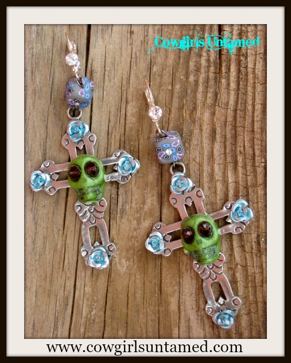COWGIRL GYPSY EARRINGS Large PEWTER Cross Green Turquoise Skull Purple Crystal N Floral Rhinestone Western Earrings